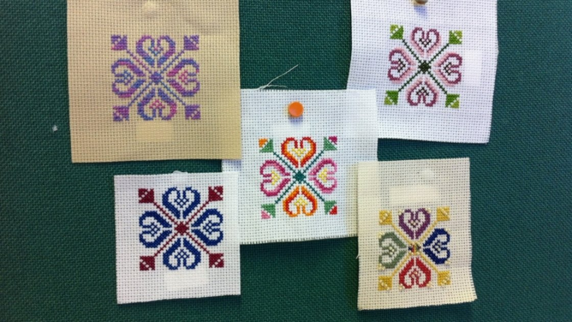 Patterns submitted to Concern's Stitch for Syria Campaign. Credit: Concern Worldwide