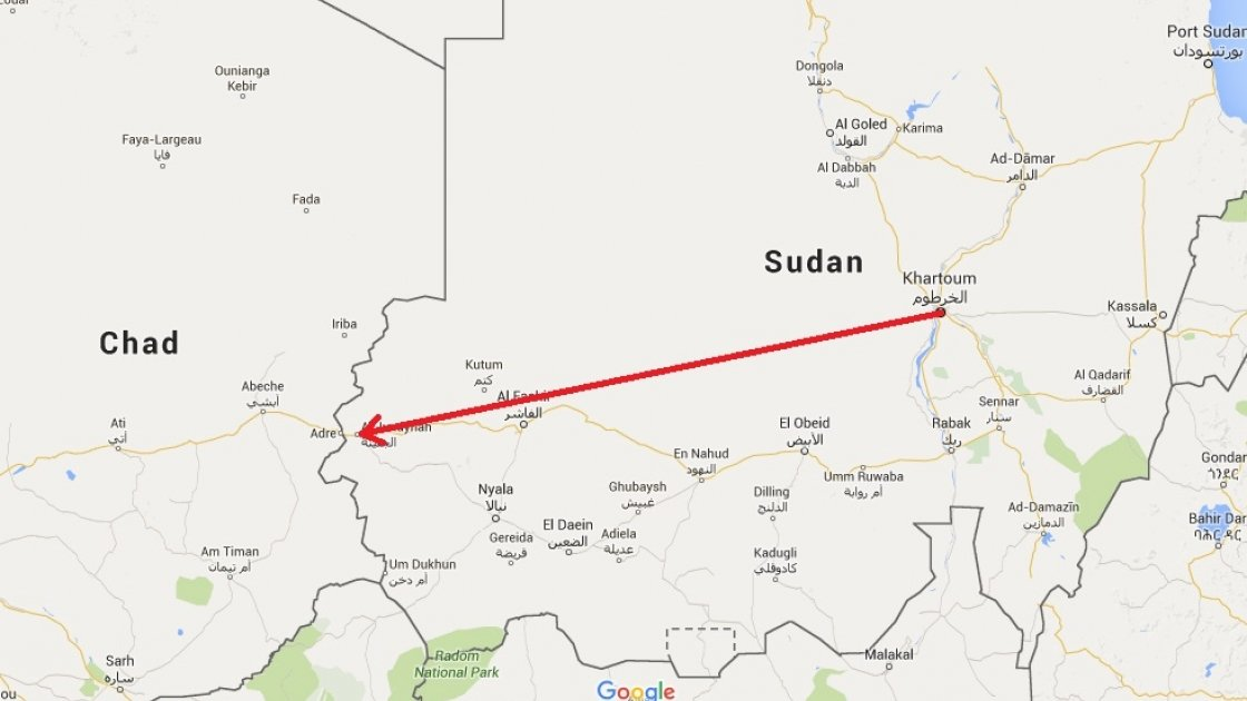 A map of Sudan.