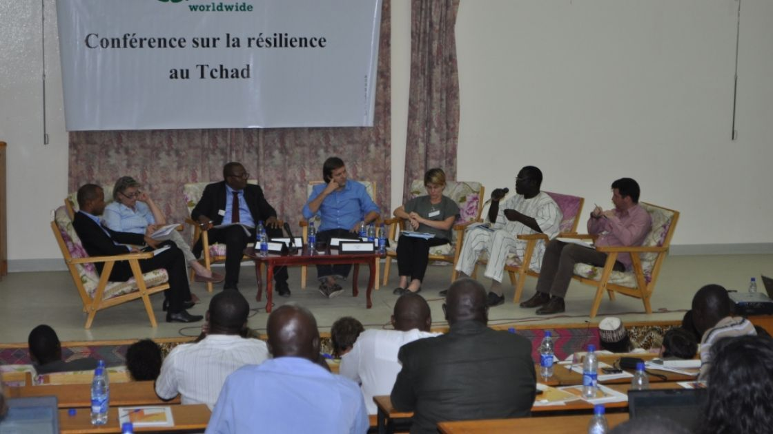 The photo shows discussants at the Chad conference on resilience to food and nutrition crisis which took place in N'Djamena, Chad, 2013. Photo: Connell Foley / Concern Worldwide.