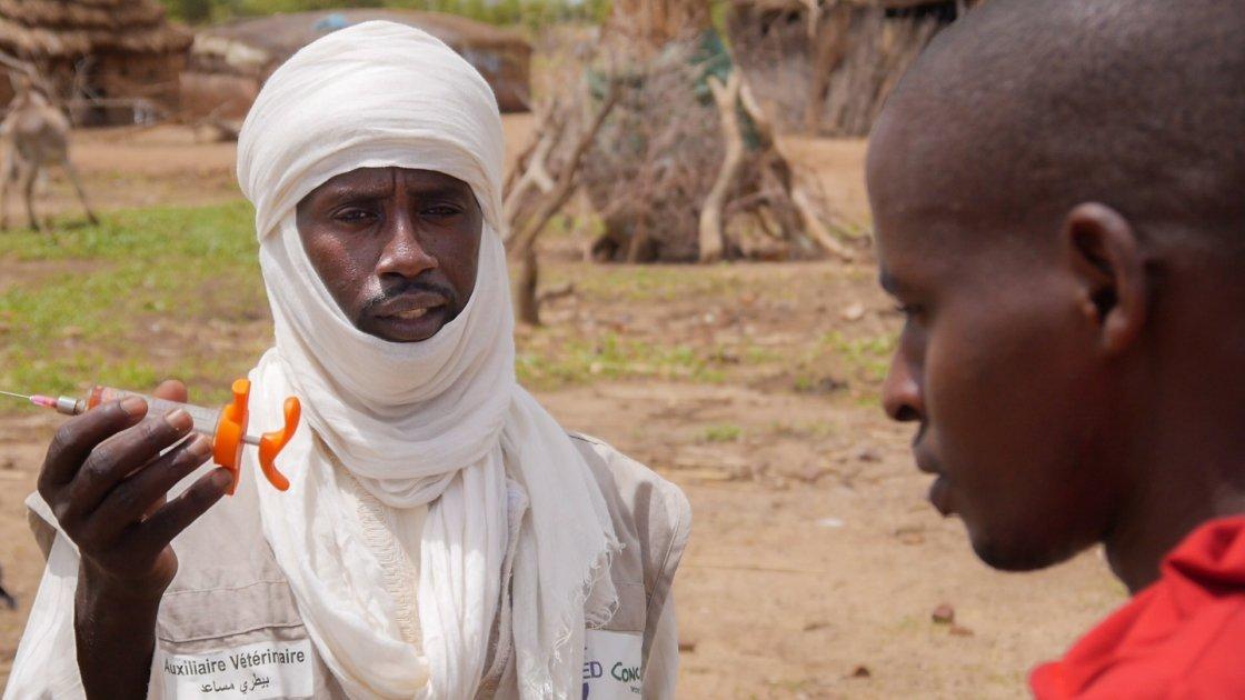 Community veterinary volunteer, Hassan, prepares to treat a neighbor's animal.