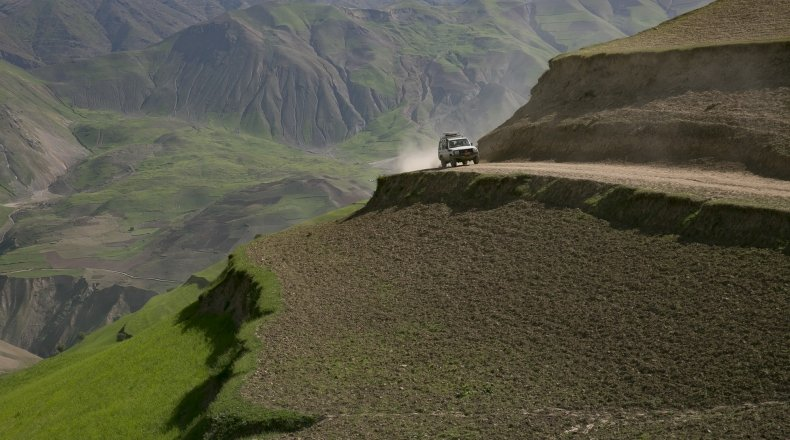 A Concern Land Crusier in action in the hills of Northeastern Afghanistan. Photo: Kieran McConville / Concern Worldwide