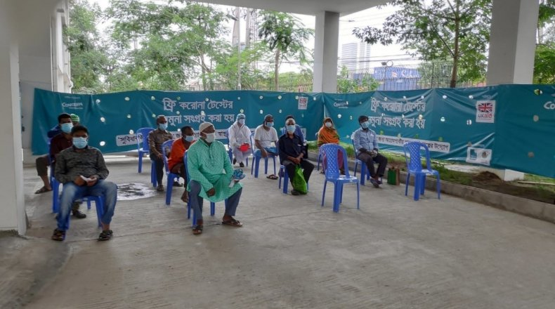 Waiting area at Digital Booth - Concern Bangladesh in collaboration with local partners, have launched New Digital Booths in Dhaka, for screening and testing of Covid-19.
