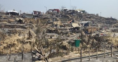 Homes destroyed by fire in Cox's Bazaar, Bangladesh