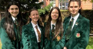 Holly Thompson, Eden Wilson, Alice Francey, Beth Eccles of the Friends' School Lisburn debating team who won the  Concern Debates Shield final