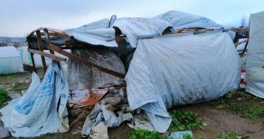 Temporary shelters for Syrian refugees in Lebanon have sustained extensive damage following two storms. Photo: Concern Worldwide.