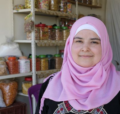 Bushra has been running a small grocery shop near the tented settlement where she lives for Syrian refugees after receiving business training and a start-up grant from Concern. Photo: Darren Vaughan/Concern Worldwide
