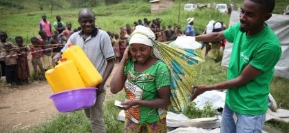 NFI materials being distributed by Concern in masisi, DRC. Photo: Kieran McConville/Concern Worldwide