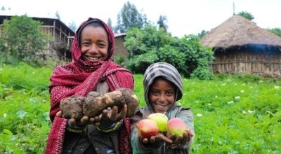 Mehamed and his brother in Ethiopia. Photo: Jennifer Nolan/Concern Worldwide.