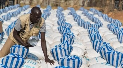 A monthly food distribution in Juba. Photo: Steve De Neef/Concern Worldwide.