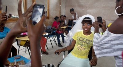 Djenise Hilaive takes part in a hair and make-up training session in Port-au-Prince, Haiti. Photographs: Abbie Trayler-Smith/Panos Pictures for Concern Worldwide