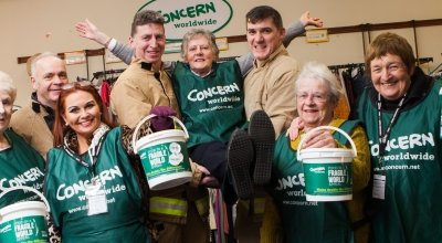 Maureen Kearney, 76, (middle) with local firefighters and other support group members from Ballycastle