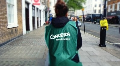 A Concern street fundraiser stands on the pavement near Baker Street. Photo: Lucy Bloxham / Concern Worldwide