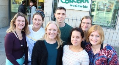 Concern's Lorna Lalor and Eleanor Carty with EU Aid Volunteers Lovia, Cailean, Anne, Anni and Rebecca