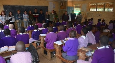 Students in 5th class at MM Chandria school receive their letters, balls and jerseys.