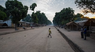 Sunrise on the main street in Kouango, Central African Republic, where Concern is working with some of the poorest communities in the world. Photo: Kieran McConville