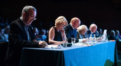 Adjudicators watch on as debate takes place. Photo: Camila Gomes/Concern Worldwide/May 2019