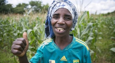 Magrete is an enthusiastic supporter of conservation agriculture in Mangochi District, Malawi, where dramatic increases in crop yields have been reported. Photo: Kieran McConville / Concern Worldwide