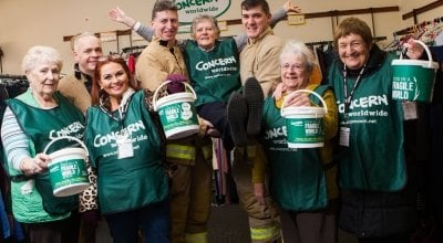 Maureen Kearney, 76, (middle) with local firefighters and other support group members from Ballycastle.