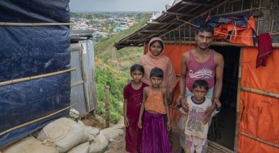 Rohingya refugees, Mohamed Zakir* and his family at home in Cox's Bazar refugee camp. Photo: Abir Abdullah/ Concern Worldwide