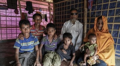 Shofika* along with her children including Laila* Kutupalong camp. Photo: Abir Abdullah/Concern Worldwide