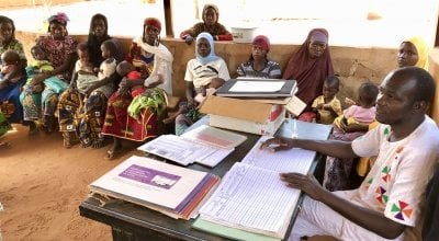 This health centre in Tahoua, Niger, which serves over 50 rural villages, has been using the CMAM Surge approach since 2016 to help respond to increases in their malnutrition caseloads. Photo: Darren Vaughan / Concern Worldwide.
