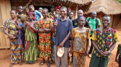 Farmers at their communal food store near the village of Kolongo. Photo: Kieran McConville / Concern Worldwide