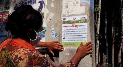 Concern teams are distributing COVID19 leaflets in Bangladesh. Photo: Md. Mohidul Hasan/ Concern Worldwide