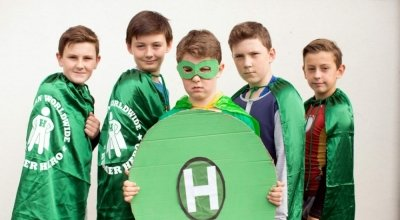 Nathan, David, Craig, Stephen and Jacob from Scoil na Mainistreach in Co. Kildare stepped up to become hunger heroes for Concern. Photo: Jason Clarke / Concern Worldwide.