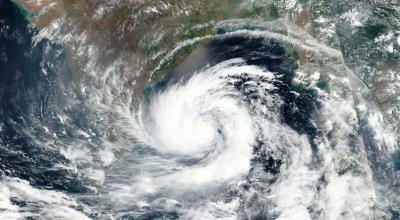 A satellite image of Cyclone Amphan over the Bay of Bengal on Sunday. Credit: NASA, via Associated Press
