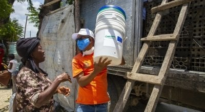 A distribution of hygiene material to help prevent the spread of COVID in Haiti