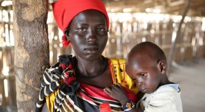 *Khadra and her two year old daughter, *Jamilah, being screened by staff of Nile Hope, a South Sudanese NGO being supported by Concern Worldwide. They are hiding out on an island deep in the swamps of Unity State. *Jamilah is severely malnourished.