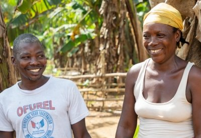 Rebecca Dolley with her husband Jeremiah in Nakai Town. Photo: Gavin Douglas/ Concern Worldwide