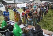 A Concern distribution of tarpaulins to displaced families in Katale, Masisi, DRC. Photo: Kieran McConville/Concern Worldwide