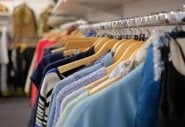 Clothes in stock in our Ormeau Road shop in Belfast, Northern Ireland