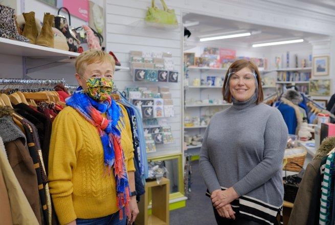 Ormeau Road shop volunteers Joan Douglas and Alison Campbell. Photo: Darren Vaughan